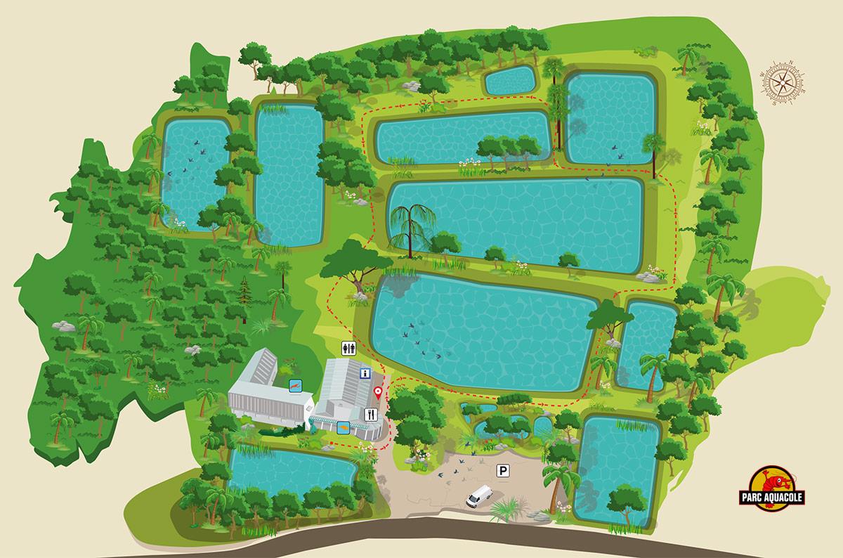 Plan du parc aquacole à Pointe-Noire, Guadeloupe